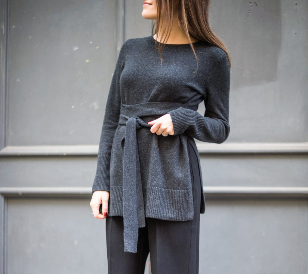 Fashion blogger That Pencil Skirt wearing  a Club Monaco tie sweater and wide leg crop pants