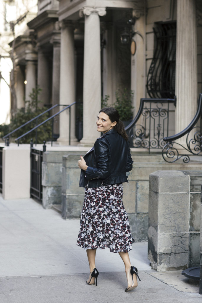 Corporate blogger Amanda Warsavsky wearing a Veronica Beard a line midi skirt and Iro navy leather jacket