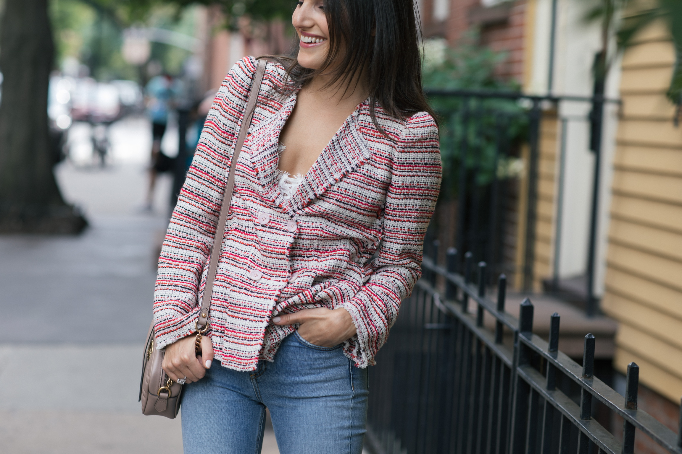 corporate and lifestyle blogger That Pencil Skirt wearing a Rebecca Taylor double breast tweed blazer and rag and bone step hem jeans