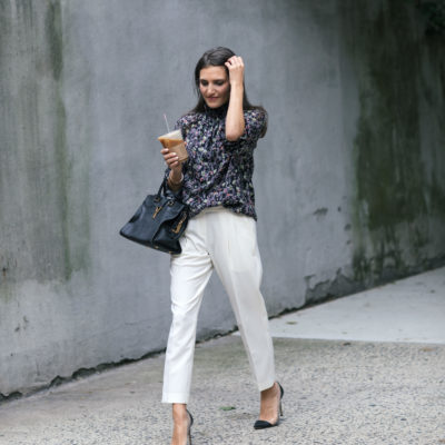 Lifestyle and work style blogger That Pencil Skirt wearing Dylan Gray off white crop trousers and a Rebecca Taylor floral smock neck blouse