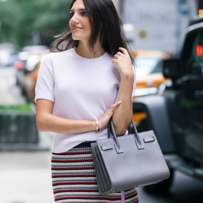 work style blogger Thst Pencil Skirt wearing an Alexa Chung chrochet striped skirtand a white short sleeve cashmere sweater
