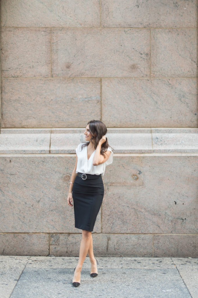 Lifestyle and work style blogger That Pencil Skirt wearing a Veronica Beard scuba pencil skirt with an embellished Miu Miu belt and Rebecca Taylor white drape front bouse