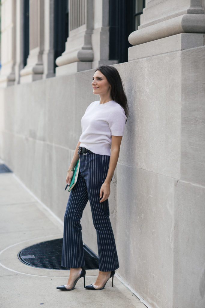 Lifestyle and work wear inspiration blogger That Pencil Skirt wearing Derek Lam crop pinstripe stretch pants, an embellished Miu Miu belt and a short sleeve white cashmere sweater