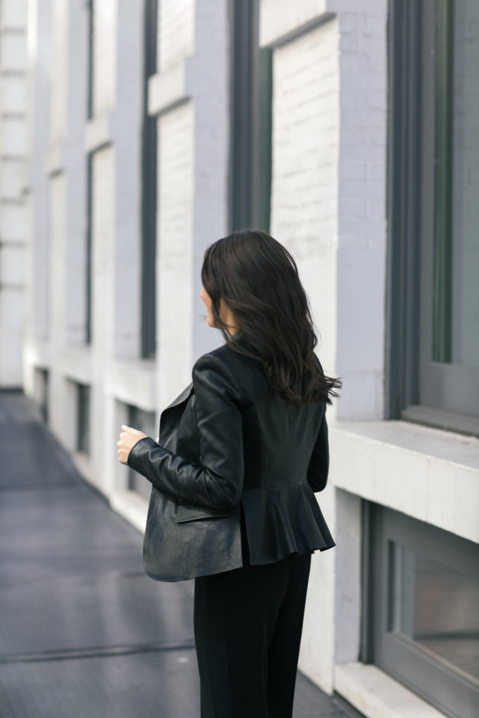 how to wear a leather jacket to the office