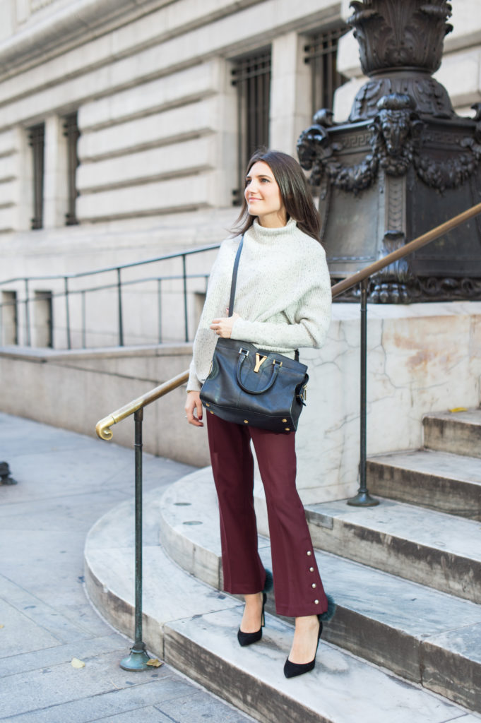 Lifestle and Work wear blogger That Pencil Skirt wearing red crop Club Monaco pants with a grey Club Monaco dot sweater and a Saint Laurent small cabas bag