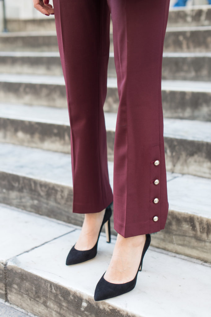 Blogger That Pencil Skirt wearing Club Monaco crop red pants with gold button detail