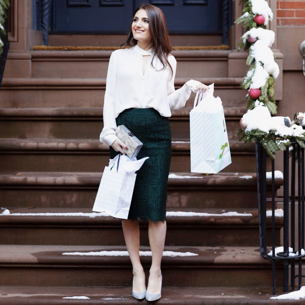 Lifestyle and office blogger That Pencil Skirt wearing an Ann Taylor green lace pencil skirt, a L'Agence white cut-out blouse and silver velvet pumps